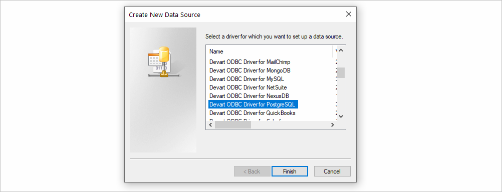 Create New ODBC Data Source on Windows