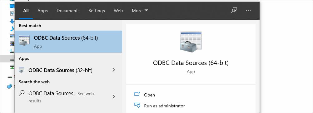 ODBC Data Source in Windows Search Bar