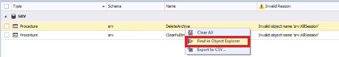 Select the 'Find in Object Explorer' option in the table