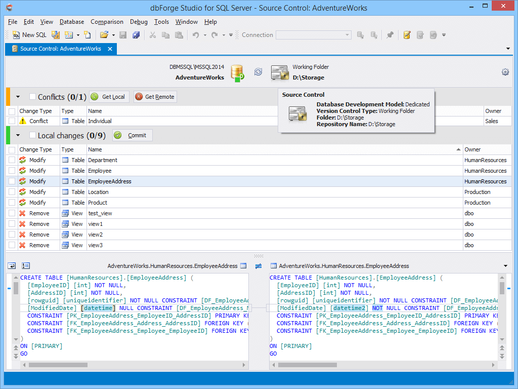 A helpful tool that allows to source-control an SQL database with your version control system