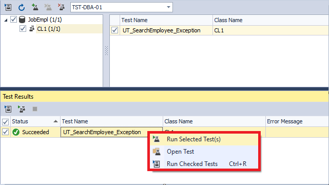 The functionality that allows running the test and tracking the changes