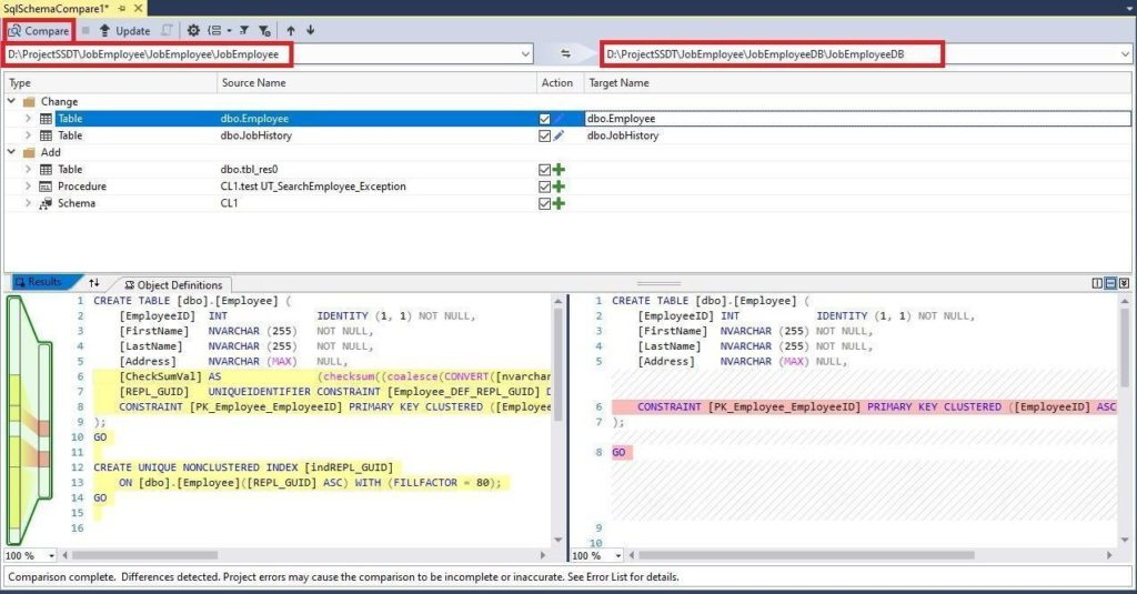 Initiating the schema comparison process in SQL Server