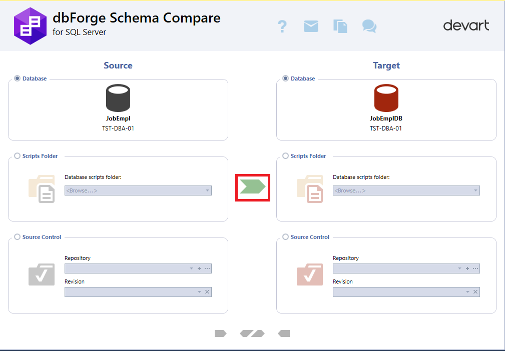 Comparing database schemas with dbForge Schema Compare that integrates into SSMS