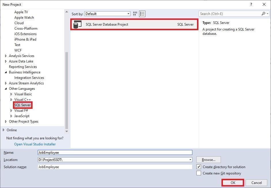 Creating a new SQL Server database project
