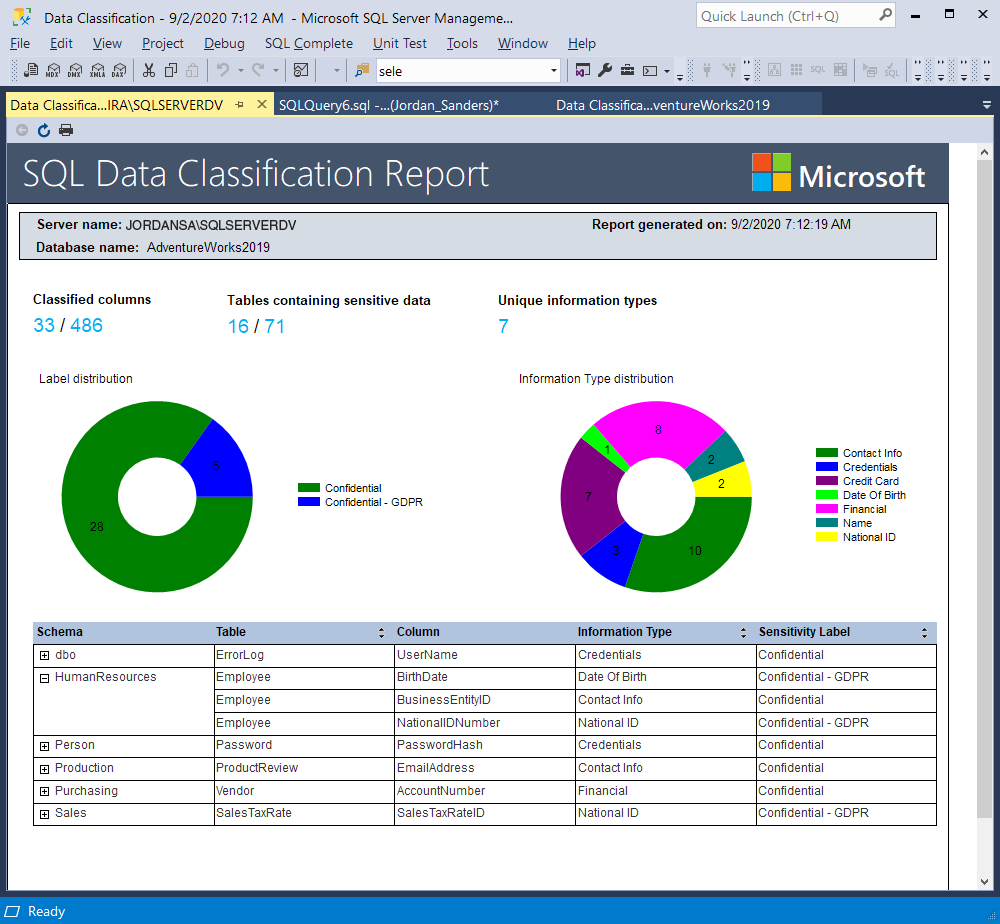 SQL Data Classification Report in SSMS