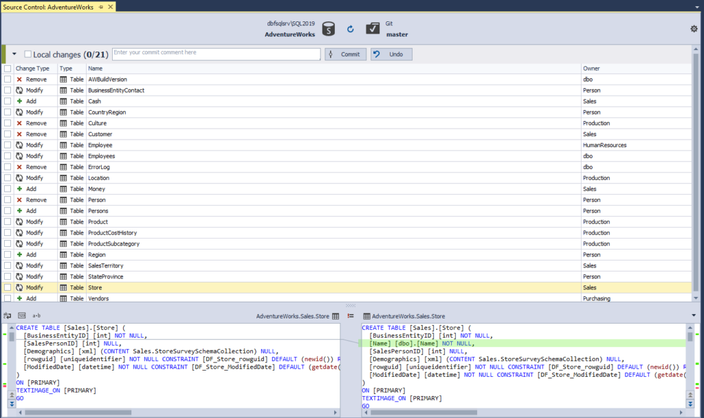 Source Control Manager displaying the local changes for the shared database development model