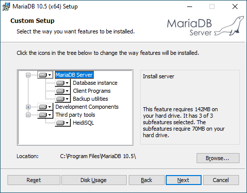 Define which MariaDB products you want to install