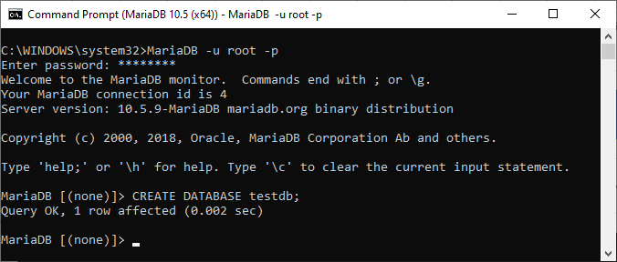 Create a database via MariaDB command prompt