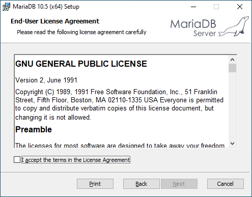 Accept the terms in the License Agreement of MariaDB Server